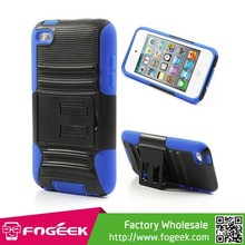 Stand Rotary Belt Clip Design Silicone & Plastic Combo Cover For iPod Touch 4