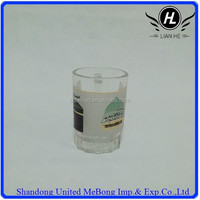 70ml clear glass cup with handle and pictures