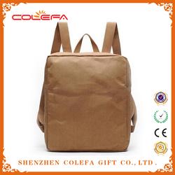 2015 new recycled material washable kraft paper mens waterproof messenger backpack bag