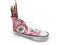 canvas zipper lock shoe shaped pencil bag