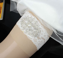 Hot Selling Bridal Lace Garter With Rhinestones Patch Handmade XK8597