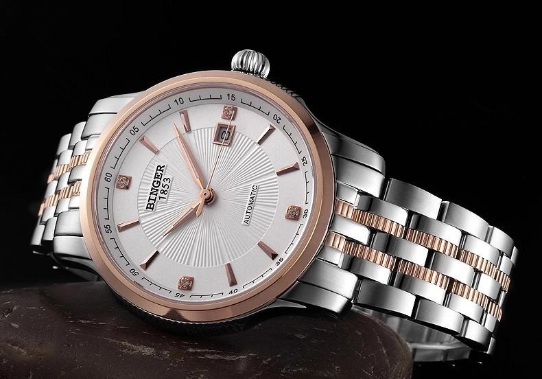 2016 новый дизайн мужская роскошный модный бренд часы Из Нержавеющей стали высокого качества автоматическая дата военная Бингер смотреть