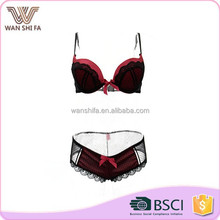 High quality nylon red bottom black lace net surface ladies sexy net bra sets