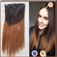 Ombre hair extension clip in hair extensions for African American