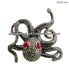 Ruby 925 Sterling Silver Octopus Ring, 14k Gold Diamond Pave Octopus Ring, Gemstone Ring Jewelry Manufacturer