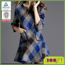 2015 autumn winter casual wear printed diamond grid wool good service girl dress