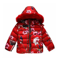 WL Monsoon New Brand 2015 High Fashion Baby Girls Winter Red Froal Jackets Girls Down Coat Kids Warm Outerwear