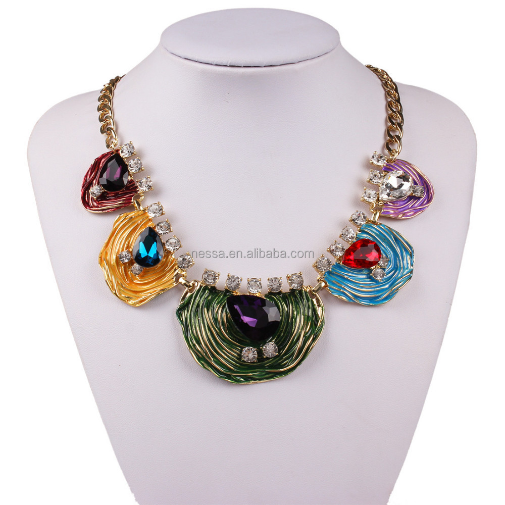 fashion gold necklace italian enamel jewelry wholesale