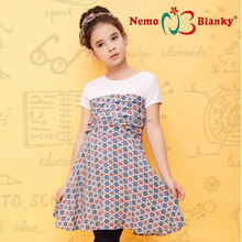 100% cotton mix printing 2-10 years girl dress breathable cheap imported child clothes for girl