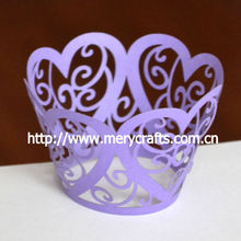 best selller for 2013! laser cut heart flower purple color wedding cake decorating from Mery Crafts