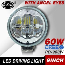 12V 9 Inch 60w round cre e led motorcycle headlight with angel eye