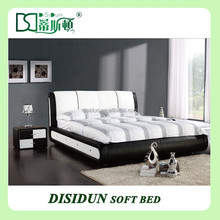 white leather california king bed DS-869