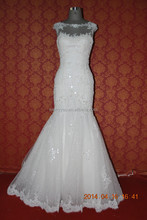 (MY0013) Marry You New Collection Custom Made Beaded Lace Appliqued Cap Sleeve Mermaid Muslim Bridal Wedding Dress