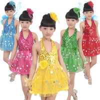 bright dance costumes girl's latin dance clothing sixty-one performance clothing child dance clothing