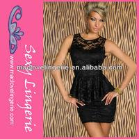 ML17912 Black Lace Mini Knee Length Formal Short Frock Dress