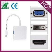 3 in1 Thunderbolt Mini DP Displayport to HDMI DVI VGA adapter for MacBook
