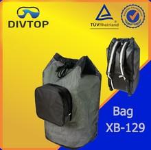 mesh drawstring snorkel packet with black zip pocket and logo