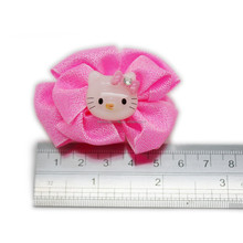 Baby hair clips- pink bow with poly mini cat