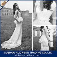 2015 Graceful V Neck Back Cross Sheath Half Sleeve Brush Train Lace Sleeves To Add To Wedding Dress
