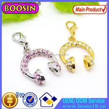 3D Shiny Rhinestone Gold/Silver Earplug Ear Phone Charm Jewelry #17102