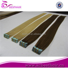 wholesale price pu skin hair weft hair extension 100% tape in hair extentions