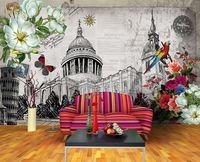 Eco-friendy 3d huge mural famous buildings papel de parede bedroom living room sofa tv wallpaper murals wallpaper
