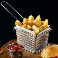 LFGB Food Grade Iron Coated With Nickle Mini French Fries Baskets