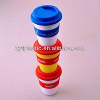 Mini plastic coffee mug with rubber lid