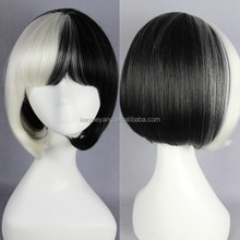 2 tone white and black short straight bob style wig for party