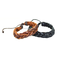 Whole Sale Simple first class cow leather braided men's bracelet
