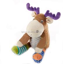 Eco-friendly baby gift 12inch Stuffed Animal Plush socks moose toy