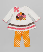 2015Lovely Baby Girls Cotton Thanksgiving Outfit Girls Full Sleeve Top And Ruffle polka dot Pant Set Childrens Fall Clothing Set