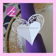 Pearlescent paper laser cut leaf flower heart love shape napkin ring MJ-19 Haoze Brand