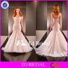 2015 New Arrival Sexy Low Cut Sweetheart Crystal Sash Bottom Tulle Mermaid Wedding Dress