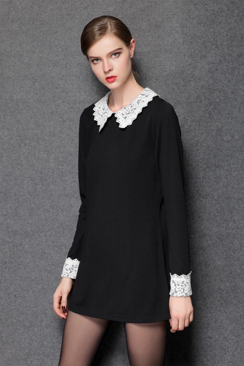новые женские платье вскользь тонкий кружевной воротник Питер платье женщин Зима Платья