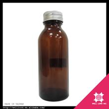 White plastic cap brown medical 100ml amber glass oil bottle