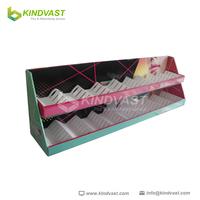 2 tier cardboard countertop cosmetics display unit for lipstick display