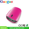 Guoguo dual usb portable LED light mobile power bank 7800mah for iphone,ipad