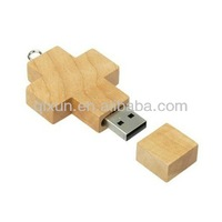 best selling brand engraving logo wooden cross shape usb flash drive