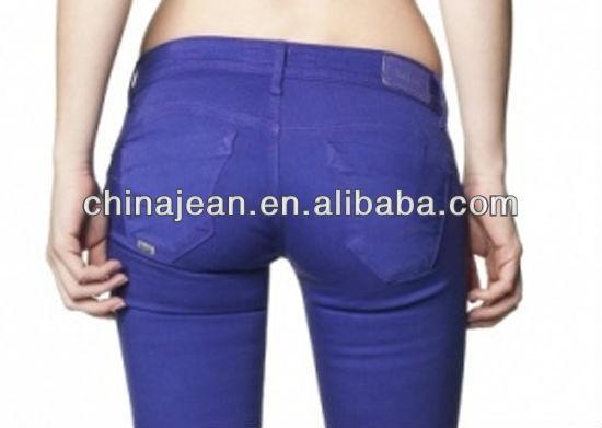 2015 moda barata de color vaqueros rectos para mujeres oem de china jeans Colombia del dril de algodón JXC29823