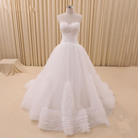 Strapless White Feather Fluffy Wedding Dresses 2015