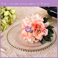 Wholesale Rose Antique Gold Plated Dinnerware Set Gold Rimmed Bone Dinner Beaded China Dinner Charger Plates For Wedding