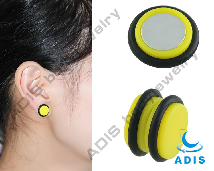 Yellow Acrylic Magnet 2016 New Fashion Design Chinese Earring Tunnel  (3)