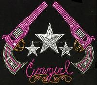 Stars and guns cowgirl iron on rhinestone transfer