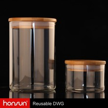 Sample customized and DHL delivered within 7 days Borosilicate glass hand blown candy jars with lids