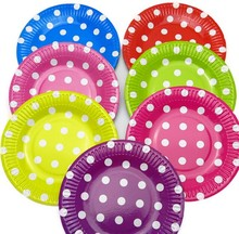 dot disposable round ,Heart paper dinner plate,party plates all party