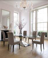 A8087 Reduced designs strong frame oval glass top dining table for family