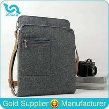 Gray Wool Felt Messenger Bag Felt Shoulder Bag With Retro Leather Straps