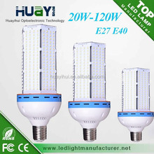 Factory Sale High Power 20-120W E27/ E40/B22/E14 /G24 led lamp 360 degree led corn light