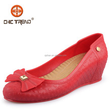 2015 Woman hot selling waterproof Plastic Casual Wedge heel Shoe PVC upper Material Shoes melissa shoes with bow